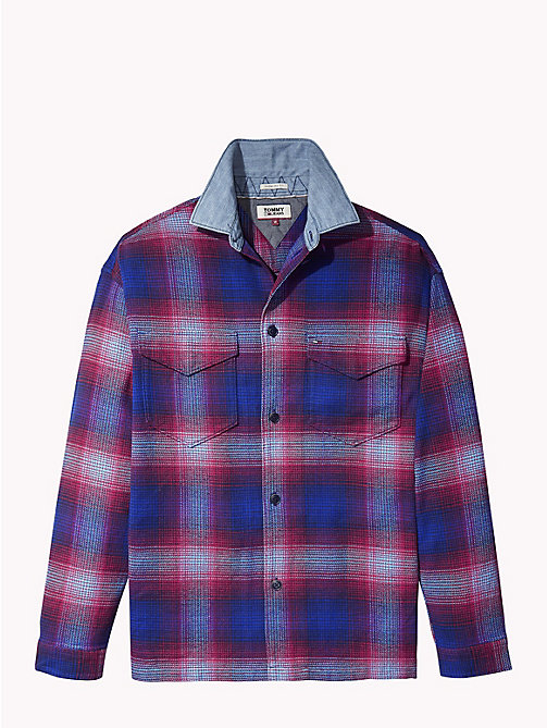 TOMMY JEANS Oversized Flannel Overshirt - BLACK IRIS / MULTI - TOMMY JEANS Shirts - detail image 1
