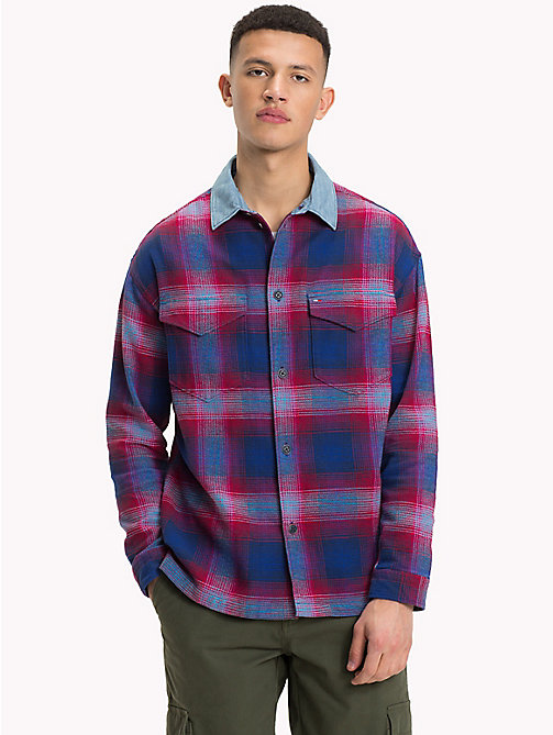 TOMMY JEANS Oversized Flannel Overshirt - BLACK IRIS / MULTI - TOMMY JEANS Shirts - main image