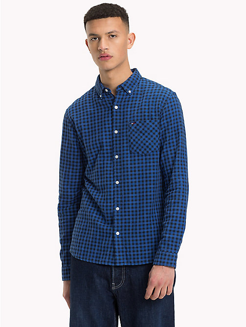 TOMMY JEANS Micro Print Regular Fit Shirt - BLACK IRIS -  Shirts - main image