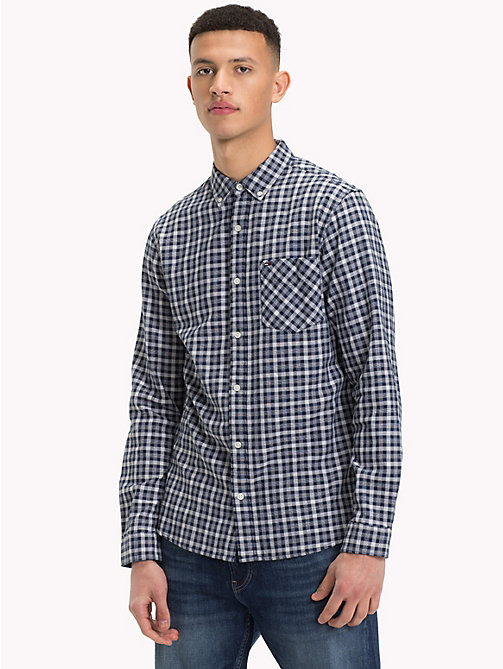 TOMMY JEANS Micro Print Regular Fit Shirt - LT GREY HTR - TOMMY JEANS Shirts - main image