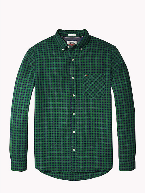 TOMMY JEANS Micro Print Regular Fit Shirt - HUNTER GREEN - TOMMY JEANS Shirts - detail image 1