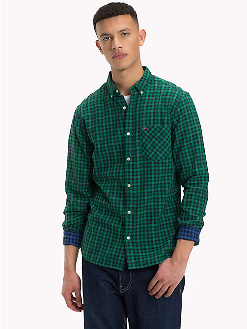 TOMMY JEANS Micro Print Regular Fit Shirt - HUNTER GREEN - TOMMY JEANS Shirts - main image