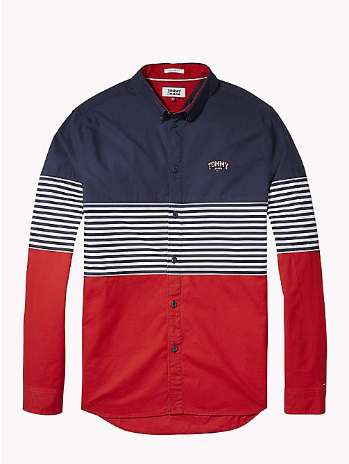 TOMMY JEANS Colour-Blocked Stripe Shirt - BLACK IRIS/MULTI - TOMMY JEANS Shirts - detail image 1