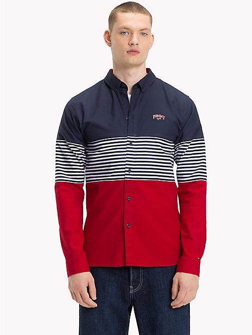 TOMMY JEANS Colour-Blocked Stripe Shirt - BLACK IRIS MULTI - TOMMY JEANS Shirts - main image