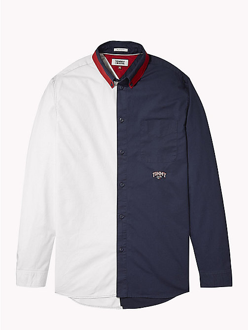 TOMMY JEANS Half-and-Half Shirt - CLASSIC WHITE / BLACK IRIS - TOMMY JEANS Shirts - detail image 1
