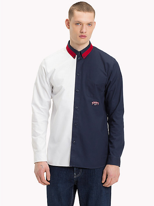 TOMMY JEANS Half-and-Half Shirt - CLASSIC WHITE / BLACK IRIS - TOMMY JEANS Shirts - main image