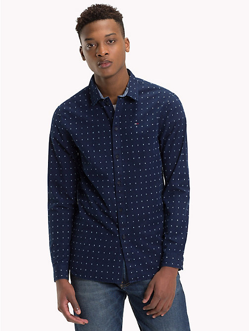 TOMMY JEANS All-Over Print Shirt - INDIGO DOBBY -  Shirts - main image