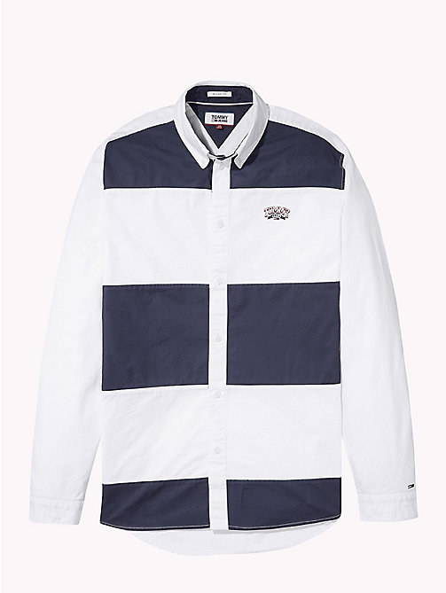 TOMMY JEANS Colour-Blocked Relaxed Fit Shirt - CLASSIC WHITE / BLACK IRIS - TOMMY JEANS Shirts - detail image 1