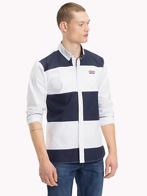 TOMMY JEANS Colour-Blocked Relaxed Fit Shirt - CLASSIC WHITE / BLACK IRIS - TOMMY JEANS Shirts - main image