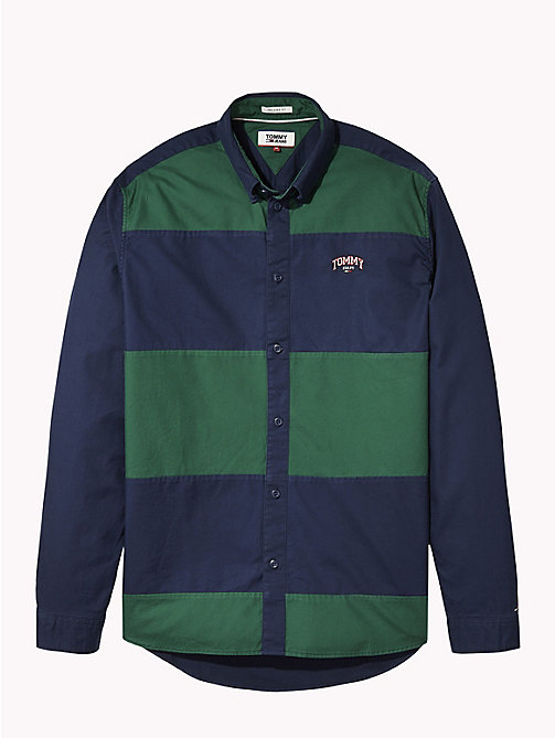 TOMMY JEANS Colour-Blocked Relaxed Fit Shirt - HUNTER GREEN/BLACK IRIS - TOMMY JEANS Shirts - detail image 1