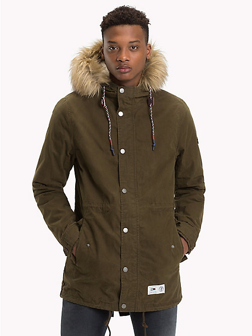 TOMMY JEANS Lined Hooded Parka Jacket - FOREST NIGHT - TOMMY JEANS Coats & Jackets - main image
