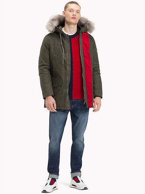TOMMY JEANS Pure Cotton Hooded Parka - FOREST NIGHT - TOMMY JEANS Coats & Jackets - detail image 1
