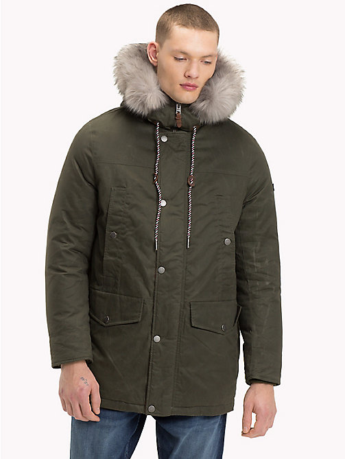 TOMMY JEANS Pure Cotton Hooded Parka - FOREST NIGHT - TOMMY JEANS Coats & Jackets - main image