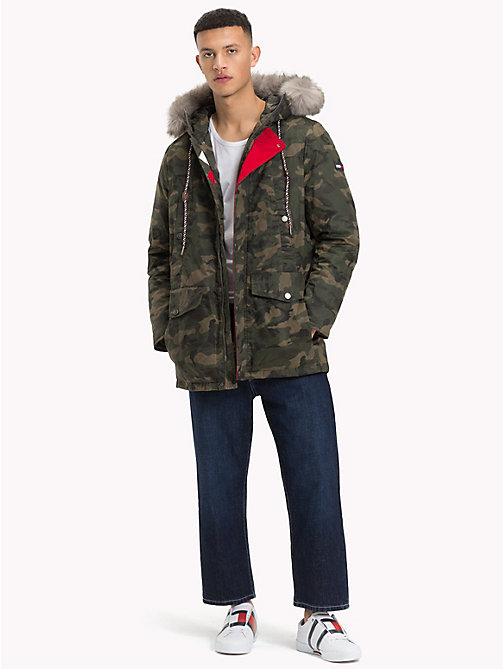 TOMMY JEANS Pure Cotton Hooded Parka - CAMO FOREST NIGHT - TOMMY JEANS Coats & Jackets - detail image 1