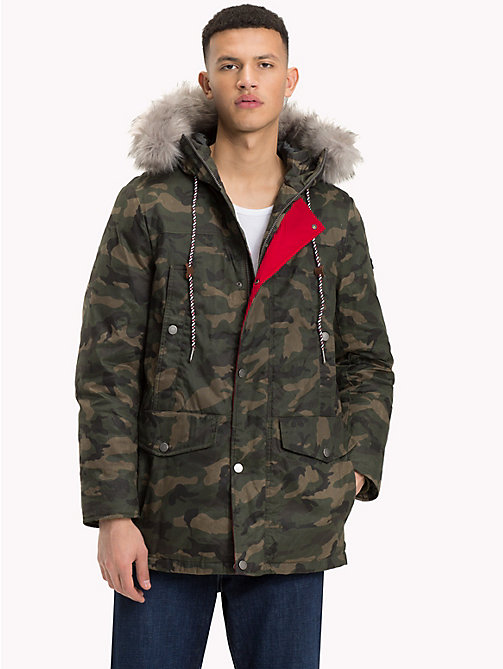 TOMMY JEANS Pure Cotton Hooded Parka - CAMO FOREST NIGHT - TOMMY JEANS Coats & Jackets - main image