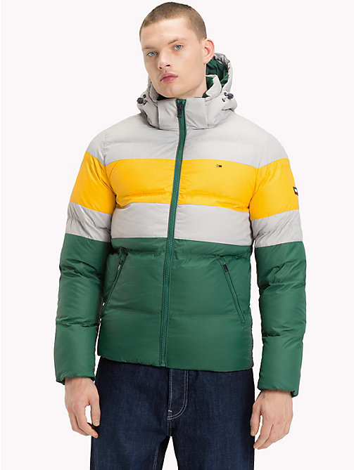 TOMMY JEANS Rugby Stripe Puffer Jacket - DRIZZLE / MULTI - TOMMY JEANS Sustainable Evolution - main image