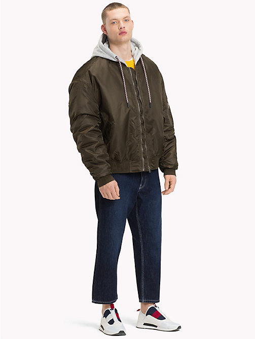 TOMMY JEANS Hooded Bomber Jacket - FOREST NIGHT - TOMMY JEANS Coats & Jackets - detail image 1