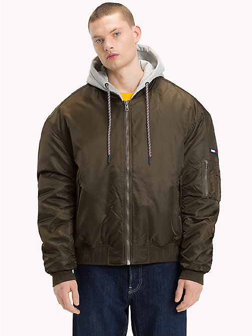 TOMMY JEANS Hooded Bomber Jacket - FOREST NIGHT - TOMMY JEANS Coats & Jackets - main image