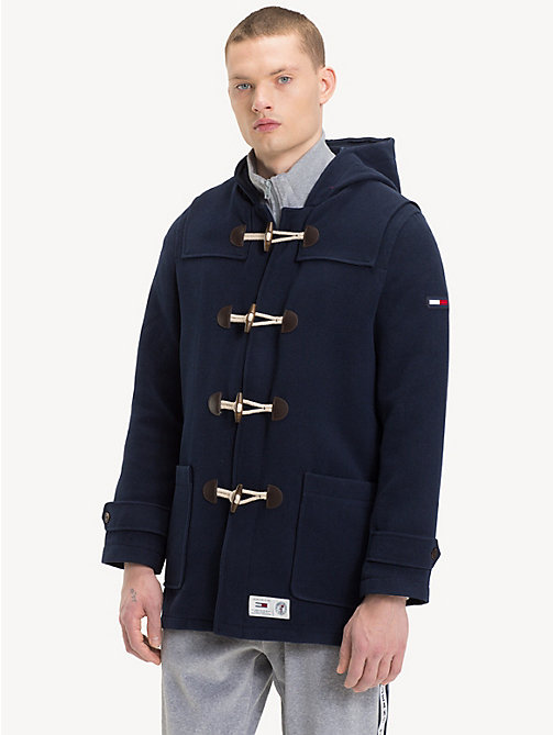 TOMMY JEANS Logo Tape Duffle Coat - BLACK IRIS - TOMMY JEANS Coats & Jackets - main image