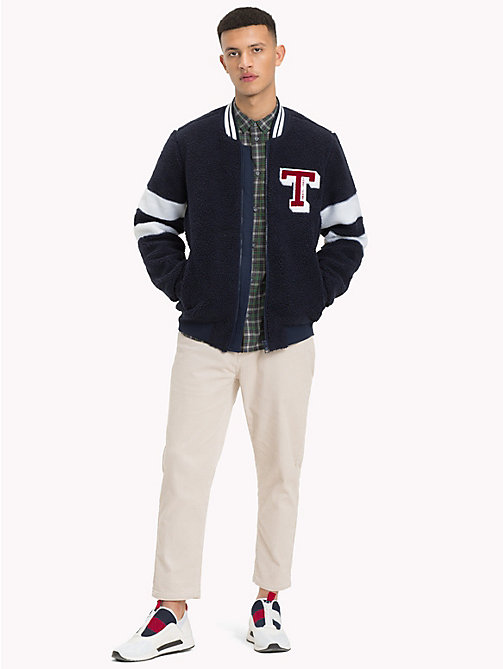 TOMMY JEANS Textured Varsity Bomber Jacket - BLACK IRIS - TOMMY JEANS Coats & Jackets - detail image 1