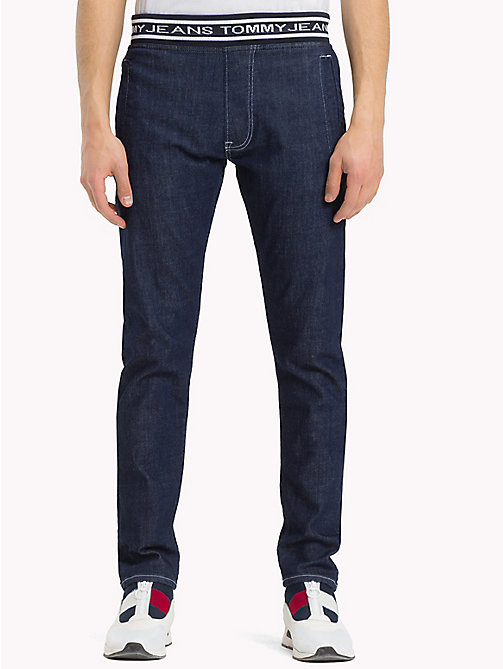 TOMMY JEANS Denim Tapered Fit Joggers - IVY RIB DK BLUE COM - TOMMY JEANS Tapered Jeans - main image