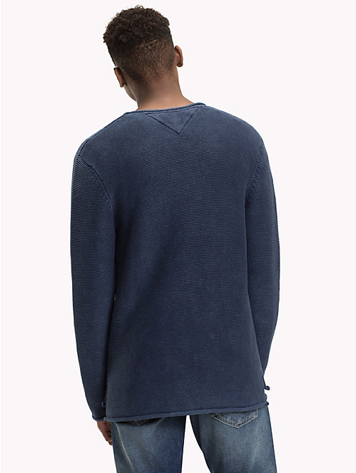 TOMMY JEANS Combed Cotton Crew Neck Jumper - BLACK IRIS - TOMMY JEANS Knitwear - detail image 1