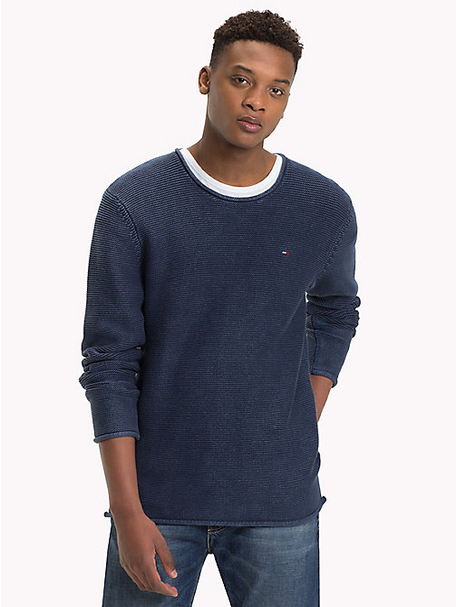 TOMMY JEANS Combed Cotton Crew Neck Jumper - BLACK IRIS - TOMMY JEANS Knitwear - main image