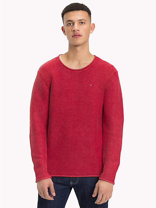 TOMMY JEANS Combed Cotton Crew Neck Jumper - SAMBA - TOMMY JEANS Knitwear - main image