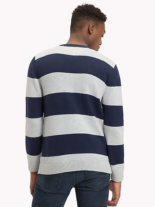 TOMMY JEANS Tommy Classics' Stripe Jumper - LT GREY HTR / BLACK IRIS - TOMMY JEANS Tommy Classics - detail image 1