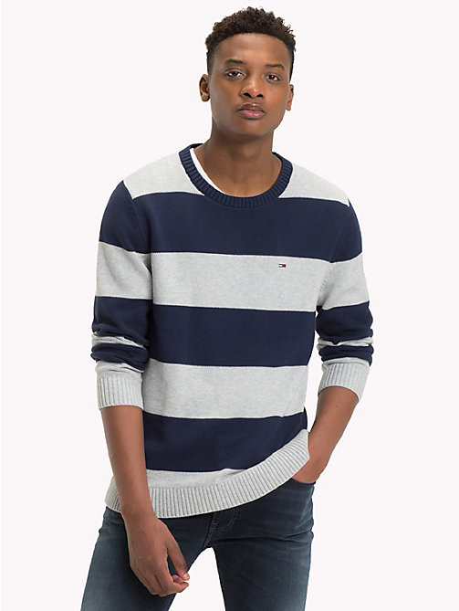 TOMMY JEANS Tommy Classics' Stripe Jumper - LT GREY HTR / BLACK IRIS - TOMMY JEANS Tommy Classics - main image