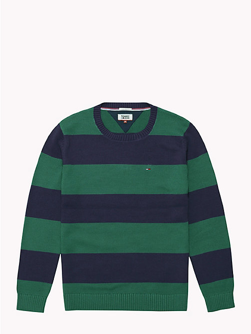 TOMMY JEANS Tommy Classics' Stripe Jumper - HUNTER GREEN/BLACK IRIS - TOMMY JEANS Knitwear - detail image 1