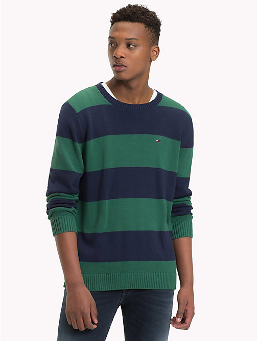 TOMMY JEANS Tommy Classics' Stripe Jumper - HUNTER GREEN/BLACK IRIS - TOMMY JEANS Knitwear - main image