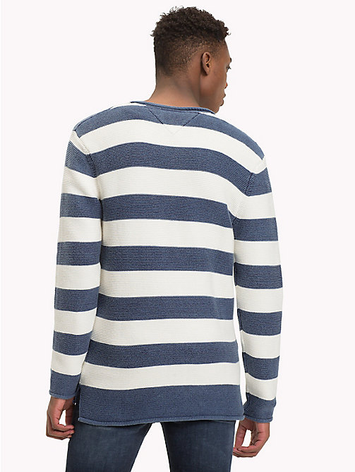TOMMY JEANS Stripe Combed Cotton Jumper - BLACK IRIS / MARSHMELLLOW - TOMMY JEANS Knitwear - detail image 1