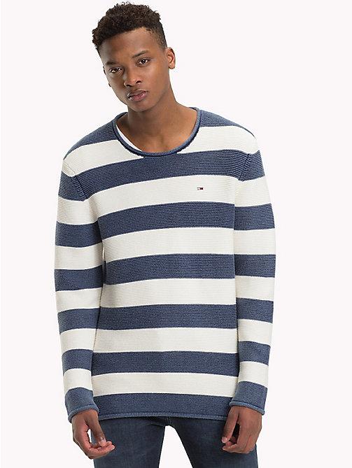 TOMMY JEANS Stripe Combed Cotton Jumper - BLACK IRIS / MARSHMELLLOW - TOMMY JEANS Knitwear - main image