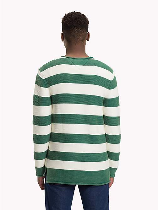 TOMMY JEANS Stripe Combed Cotton Jumper - HUNTER GREEN / MARSHMELLOW - TOMMY JEANS Knitwear - detail image 1