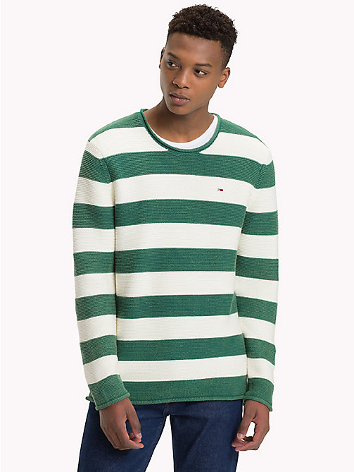 TOMMY JEANS Stripe Combed Cotton Jumper - HUNTER GREEN / MARSHMELLOW - TOMMY JEANS Sweatshirts & Knitwear - main image