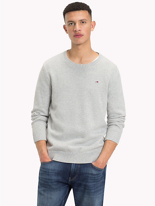 TOMMY JEANS Tommy Classics Knitted Jumper - LT GREY HTR - TOMMY JEANS Tommy Classics - main image