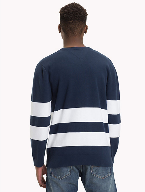 TOMMY JEANS Collegiate Stripe Relaxed Fit Jumper - BLACK IRIS - TOMMY JEANS Knitwear - detail image 1