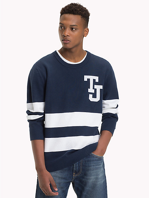 TOMMY JEANS Collegiate Stripe Relaxed Fit Jumper - BLACK IRIS - TOMMY JEANS Knitwear - main image