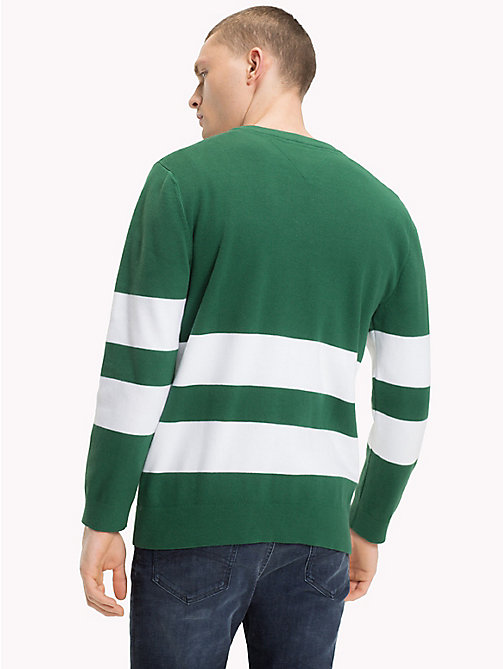 TOMMY JEANS Collegiate Stripe Relaxed Fit Jumper - HUNTER GREEN - TOMMY JEANS Knitwear - detail image 1