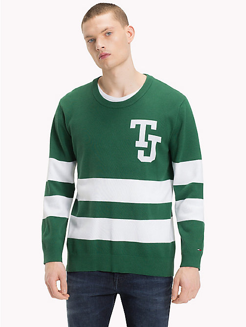 TOMMY JEANS Collegiate Stripe Relaxed Fit Jumper - HUNTER GREEN - TOMMY JEANS Knitwear - main image