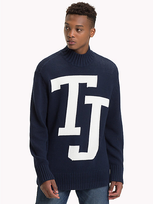 TOMMY JEANS Knitted Monogram Turtleneck Jumper - BLACK IRIS - TOMMY JEANS Knitwear - main image