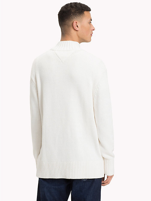 TOMMY JEANS Knitted Monogram Turtleneck Jumper - CLASSIC WHITE - TOMMY JEANS Knitwear - detail image 1