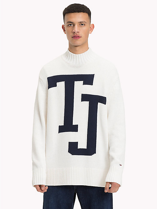 TOMMY JEANS Knitted Monogram Turtleneck Jumper - CLASSIC WHITE - TOMMY JEANS Sweatshirts & Knitwear - main image