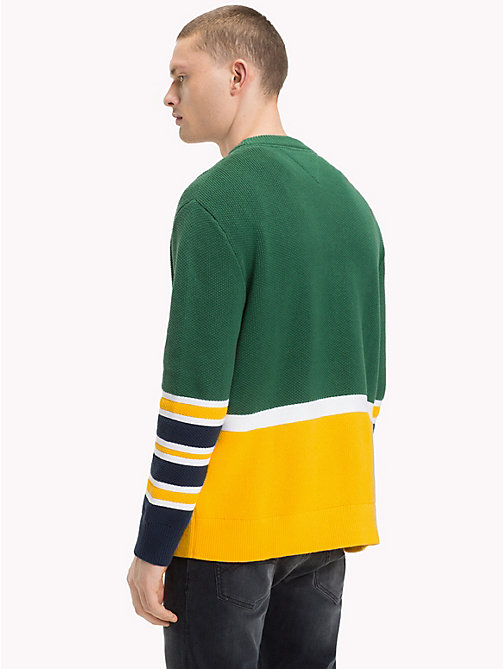 TOMMY JEANS Colour-Block Relaxed Fit Jumper - HUNTER GREEN - TOMMY JEANS Knitwear - detail image 1