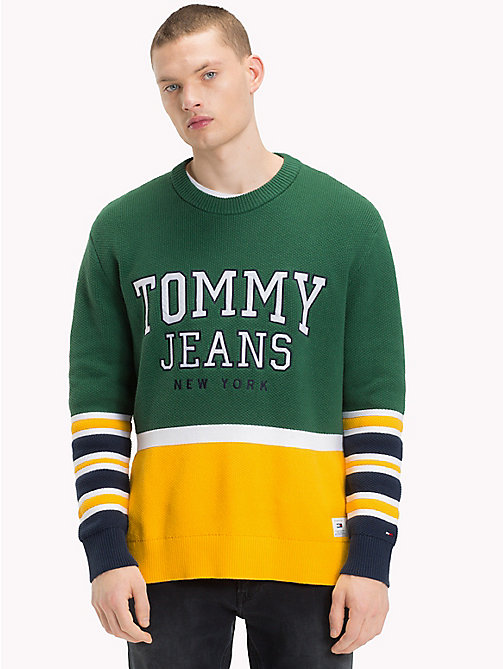 TOMMY JEANS Colour-Block Relaxed Fit Jumper - HUNTER GREEN - TOMMY JEANS Sweatshirts & Knitwear - main image