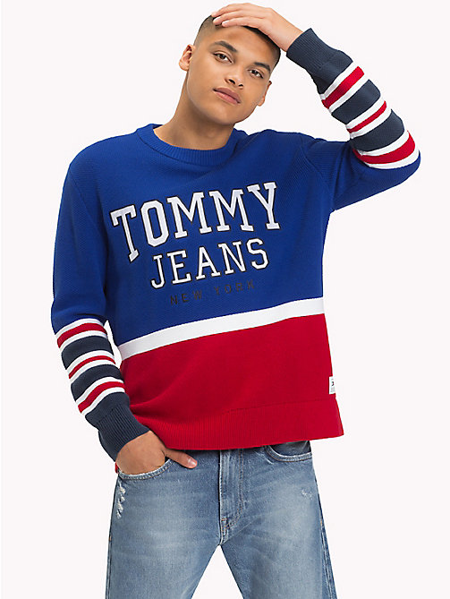 TOMMY JEANS Colour-Block Relaxed Fit Jumper - SURF THE WEB - TOMMY JEANS Knitwear - main image
