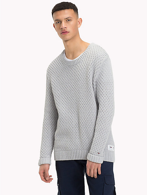 TOMMY JEANS Chunky Knitted Jumper - LT GREY HTR - TOMMY JEANS Knitwear - main image