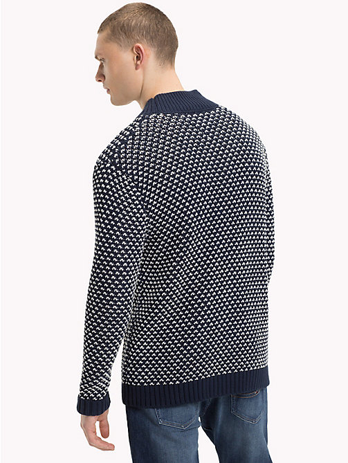 TOMMY JEANS Patterned Chunky Knit Jumper - BLACK IRIS - TOMMY JEANS Knitwear - detail image 1