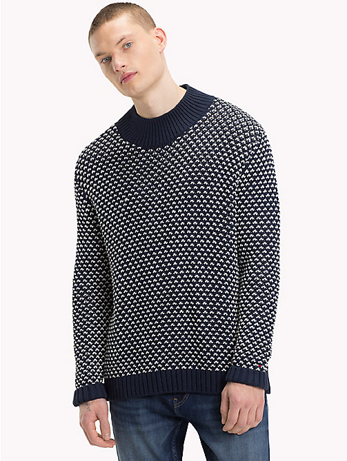 TOMMY JEANS Patterned Chunky Knit Jumper - BLACK IRIS - TOMMY JEANS Knitwear - main image